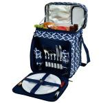 Picnic at Ascot Insulated Picnic Basket/Cooler Fully Equipped with Service for 2 - Trellis Blue