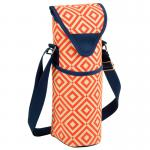 Picnic at Ascot Insulated Wine/Water Bottle Tote with Shoulder Strap -  Orange/Navy