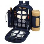 Deluxe Equipped 2 Person Picnic Backpack w/Blanket -Bold Navy