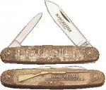 """Winchester 3 1/2"""" 2-Blade Pen Knife with Cast Bronze Color Handle"""