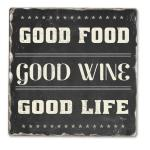 Counter Art Good Food Good Wine Single Tumbled Tile Coaster