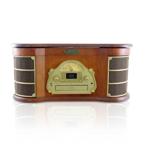 Pyle Bluetooth Vintage Style Turntable Am Fm Radio Cd