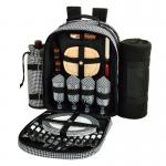 Deluxe Equipped 4 Person Picnic Backpack w/Blanket - Houndstooth