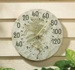 Whitehall Fossil Sumac Thermometer Clock - Moss Green