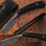 Custom Made Damascus Steel Straight Razor w/ Buffalo Horn Handle w/Sheath