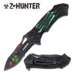 Green Zombie Hunter Assisted Opening Folder Knife