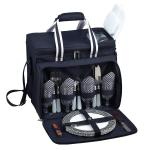 Picnic at Ascot Bold Picnic Cooler for Four, Navy/White