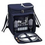 Picnic at Ascot Insulated Picnic Basket/Cooler Fully Equipped with Service for Two - Navy/White