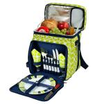 Picnic at Ascot Insulated Picnic Basket/Cooler Fully Equipped with Service for Two - Trellis Green