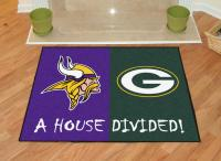 "Minnesota Vikings - Green Bay Packers House Divided Rug 34""x45"""