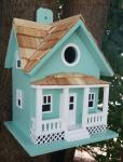 Home Bazaar Beachside Cottage Birdhouse- Seafoam Blue