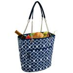 Picnic at Ascot Large Insulated Fashion Cooler Bag - 22 Can Tote - Trellis Blue