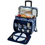 Picnic at Ascot Deluxe Picnic Cooler For Four On Wheels - Trellis Blue