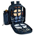 Picnic at Ascot Deluxe Equipped 2 Person Picnic Backpack with Cooler & Insulated Wine Holder - Trellis Blue