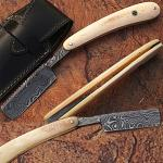 Custom Made Damascus Steel Straight Razor w/ Camel Bone Handle w/Sheath