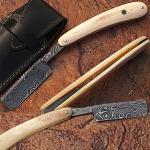 Custom Made Damascus Steel Straight Razor w/ Camel Bone Handle w/Sheath