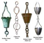 Patina Products Antique Copper Fluted Cup Rain Chain