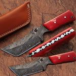 Damascus Steel Limited Edition Fixed Blade Knife w/ Camel Bone Handle