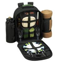 Deluxe Equipped 2 Person Picnic Backpack w/Blanket - Forest Green