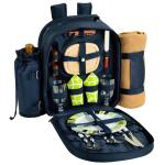 Deluxe Equipped 2 Person Picnic Backpack w/Blanket - Trellis Green