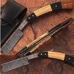 Custom Damascus Steel Straight Razor w/ Buffalo Horn & Olive Wood Handle