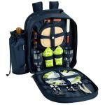 Picnic at Ascot Deluxe Equipped 2 Person Picnic Backpack with Cooler & Insulated Wine Holder - Trellis Green