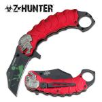 Zombie Tactical Red Assisted Opening Knife With Finger Ring