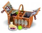 Picnic Plus Dilworth 4 Person Willow Picnic Basket - Pinstripe Lining