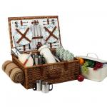Picnic at Ascot Dorset English-Style Willow Picnic Basket with Service for 4, Coffee Set & Blanket - Gazebo
