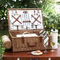 Picnic at Ascot Dorset English-Style Willow Picnic Basket with Service for 4 and Blanket - Santa Cruz