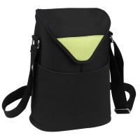 Picnic at Ascot Insulated Wine/Water Bottle Tote with Shoulder Strap - Black/Apple