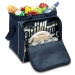 Picnic Time Verdugo Insulated Picnic Cooler for Four, Navy with Tan