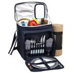 Picnic at Ascot Insulated Picnic Basket/Cooler Fully Equipped for 2 with Blanket - Navy