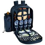 Picnic at Ascot - Deluxe Equipped 4 Person Picnic Backpack with Cooler & Insulated Wine Holder - Trellis Blue